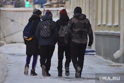 Мороз. Курган, зима, ученики, подростки, школьники, мальчики, зимние каникулы