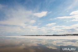 Нижневартовск, лед на реке, паводок, отражение, облака, обь, небо, весна