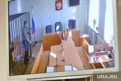 Рассмотрение апелляции на арест мэра Троицка Александра Виноградова в областном суде. Челябинск, решетка, виноградов александр, судебное заседание, суд, видеоконференция, клетка