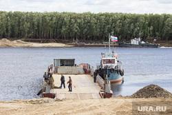 Мост через Вах. Излучинск, корабль, переправа, баржа