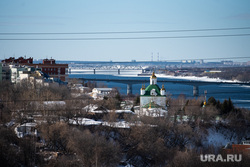 Виды города. Пермь, кама, город пермь, коммунальный мост, собор святых петра и павла