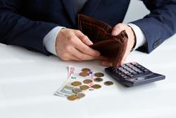 Клипарт депозитфото, кризис, калькулятор, банкротство, банкрот, нет денег, пустой кошелек