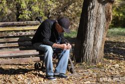 Работы по благоустройству ЦПКиО. Курган, пенсионер, скамейка, цпкио, безработица, мужчина, пенсия, осень