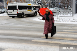 Клипарт по теме Погода. Челябинск., пешеход, переход, зонтик, гололедица