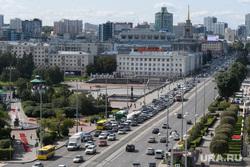 Виды Екатеринбурга, автомобильная пробка, дорожное движение, город екатеринбург, проспект ленина, плотинка, вид сверху