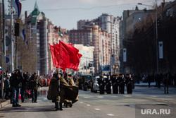 Празднование Дня Победы. Сургут, красные флаги, день победы, парад победы, 9 мая
