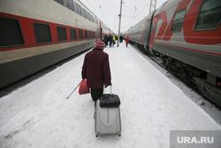 Поезда дальнего следования на железнодорожном вокзале во время снегопада. Рязань, снег, пенсионерка, вокзал, поезд, зима, багаж, путешествие, пассажир, ржд, турист, жд, чемодан, пассажиры, багаж, туризм, железная дорога