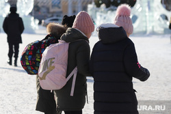 Площадь Ленина. Курган, ученики, девочки, дети, зимние каникулы, зима, ученицы