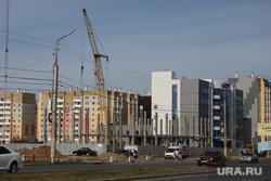 Ремонтные работы на  автодороге по проспекту Мальцева. Курган, строители, строительный кран, ремонтники, новостройка, новый дом, рабочие, стройка, заозерный, заозерный 4 микрорайон, 4 микрорайон 1