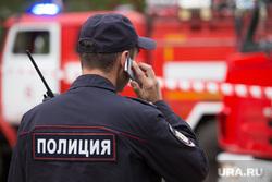 Пожар на ул. 1-ая Заводская, дом 20. Курган, пожарная машина, разговор по телефону, полиция
