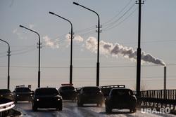 Галкинский мост. Курган, автомобили, фонари, тэц, фонари освещения, вечер, галкинский мост, чеховский мост, плохое освещение, ближний свет