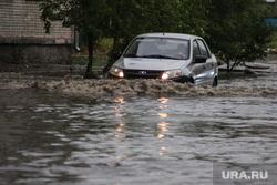 Затопленная улица Кирова. Курган, затопленная улица, автомобиль в воде, ливень, потоп, дождь, последствие ливня