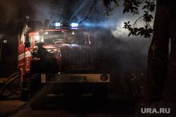 Тушение пожара по ул. Зеленая. Тюмень , дым, пожарная машина, мигалка
