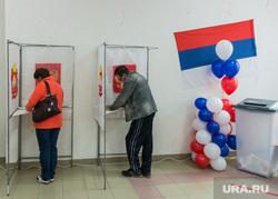 Единый день голосования. Магнитогорск, воздушные шары, коиб, триколор, кабинки голосования, выборы 2020