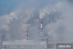 Виды Екатеринбурга, зима, дым из труб, холодная погода, морозный воздух