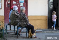 Дети. Пенсионеры. Курган, скамейка, бабушки, пенсионеры