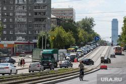 Дорожные работы на центральных улицах Екатеринбурга, пробка, город екатеринбург, трамвайные пути, улица малышева