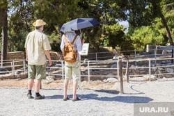 Клипарт. Греция. Крит, туристы, жара, зонт, солнце