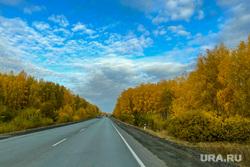 Золотая осень, природа. Челябинск, небо, бабье лето, золотая осень, трасса, дорога, природа