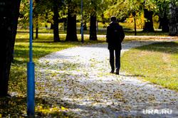 Золотая осень. Бабье лето. Челябинск, сквер, парк, дорожка, бабье лето, золотая осень, мужчина, силуэт, природа, осень
